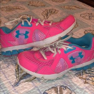 Pink and blue Under Armor Women's sneakers
